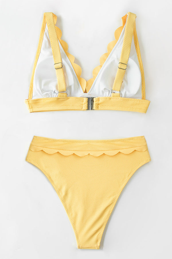 Textured Yellow Scalloped High Waisted Bikini