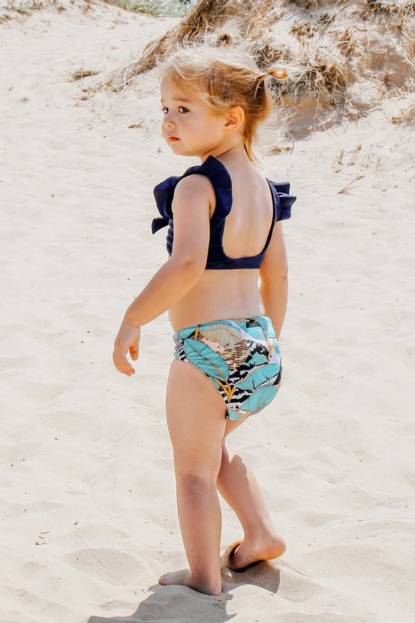 Ruffled Shoulder and Leafy Bikini For Toddler Girls and Girls