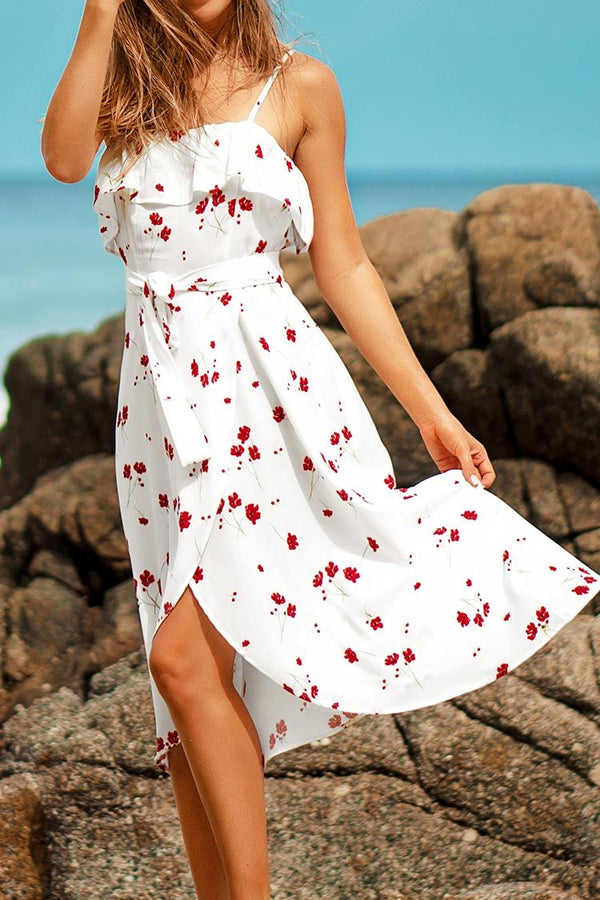 White Ditsy Floral Ruffle Midi Dress
