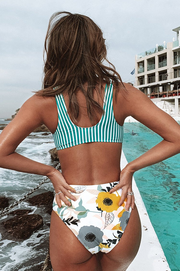 Aqua Striped and Floral Cutout One-Piece Swimsuit
