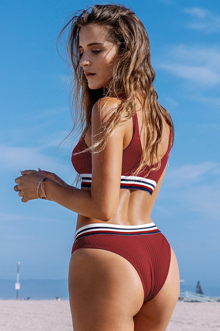 Red and Stripe Textured Sporty Bikini