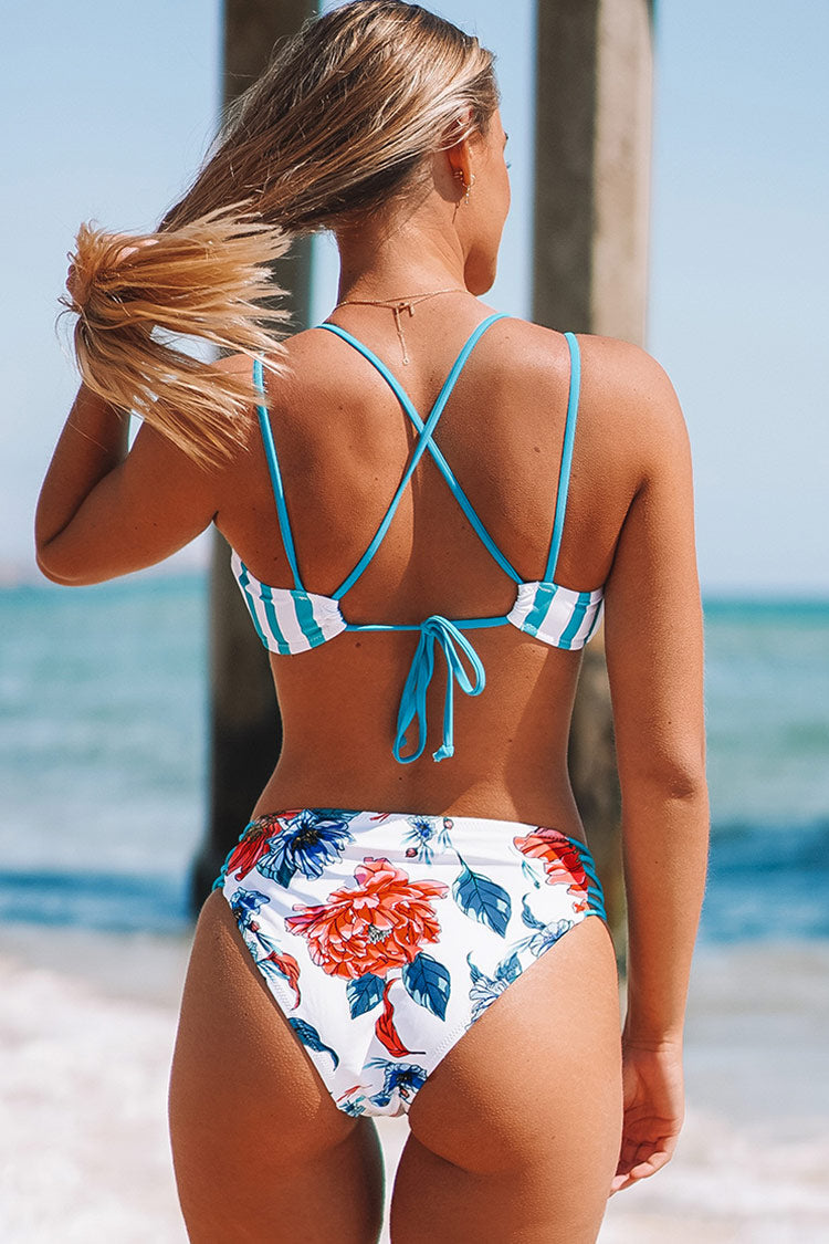 Stripe and Floral Strappy High-Waisted Bikini