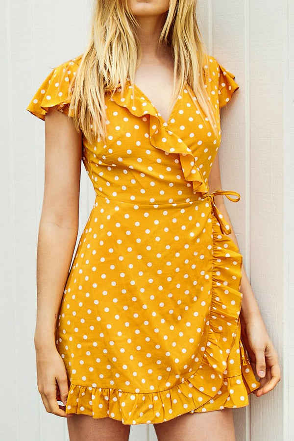 Yellow Polka Dot Ruffled Dress