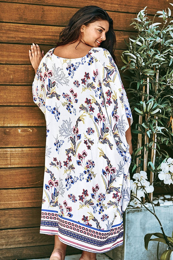 White Floral Print Plus Size Cover Up