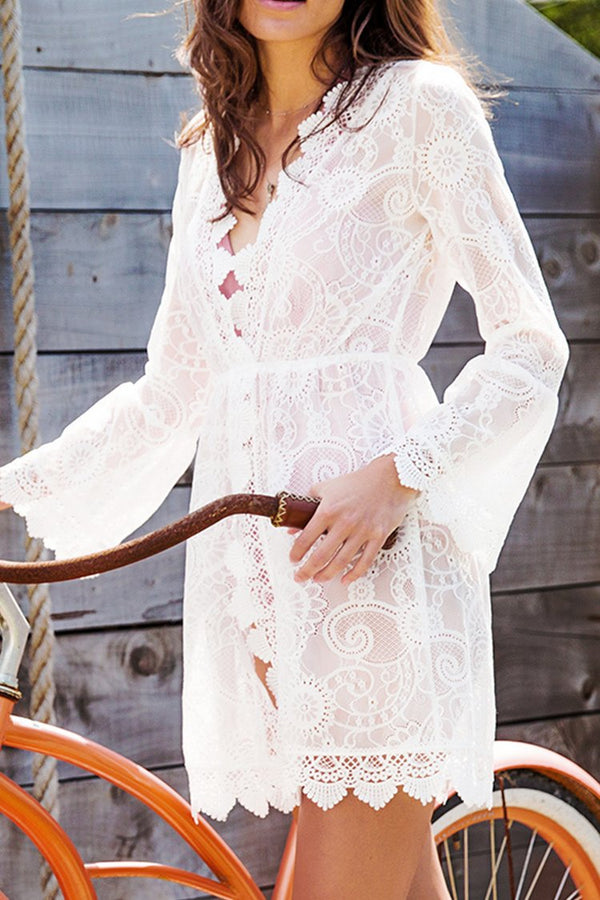 White Lace Scallop Cover Up