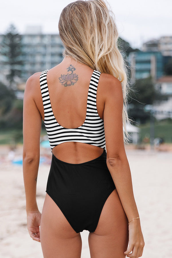 Black and White Cutout One Piece Swimsuit