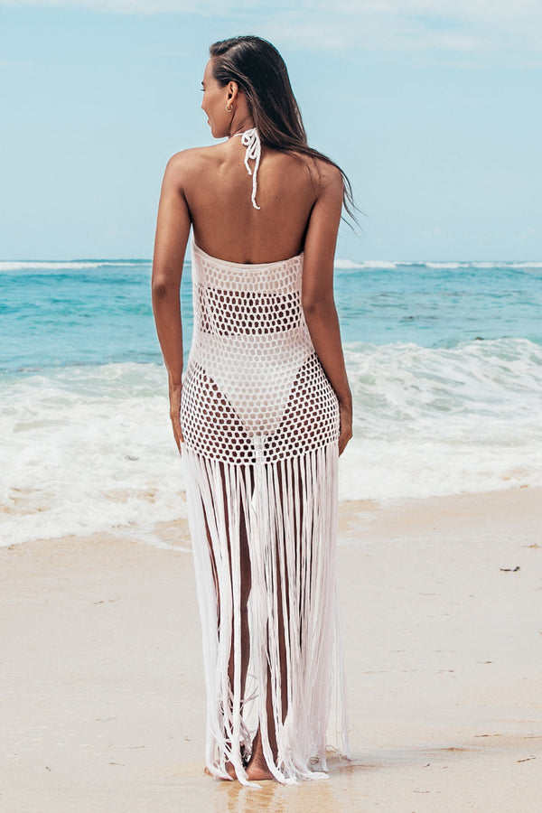 Netted Fringed Cover Up Skirt
