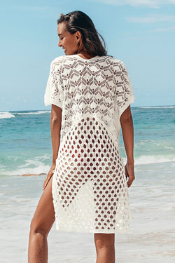 Honeycomb Lace Up Tunic Cover Up