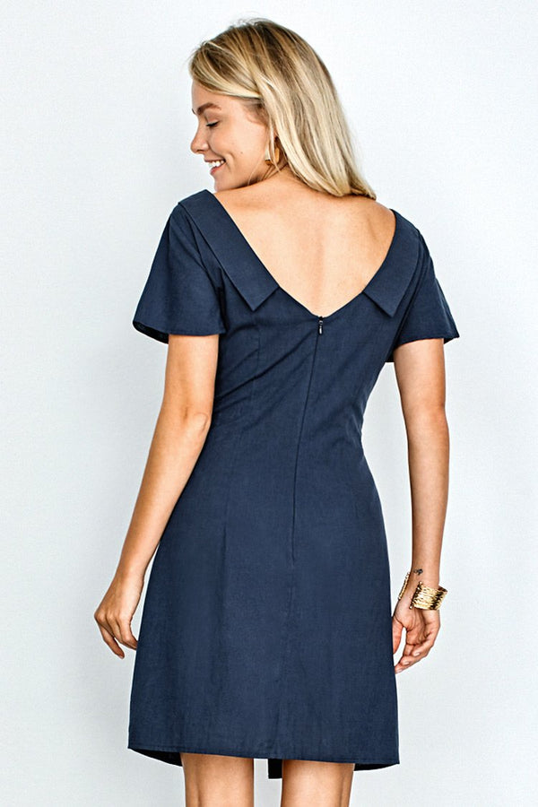 Navy Buttoned Short Dress