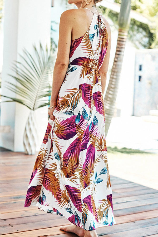 Palm Print Sleeveless Drawstring Maxi Dress