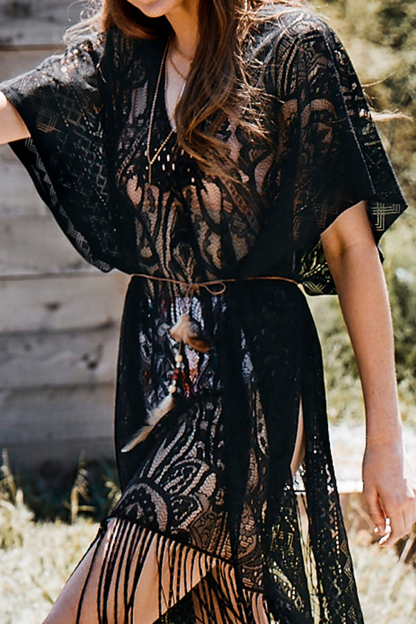 Black Bat Sleeve Lace Cover Up