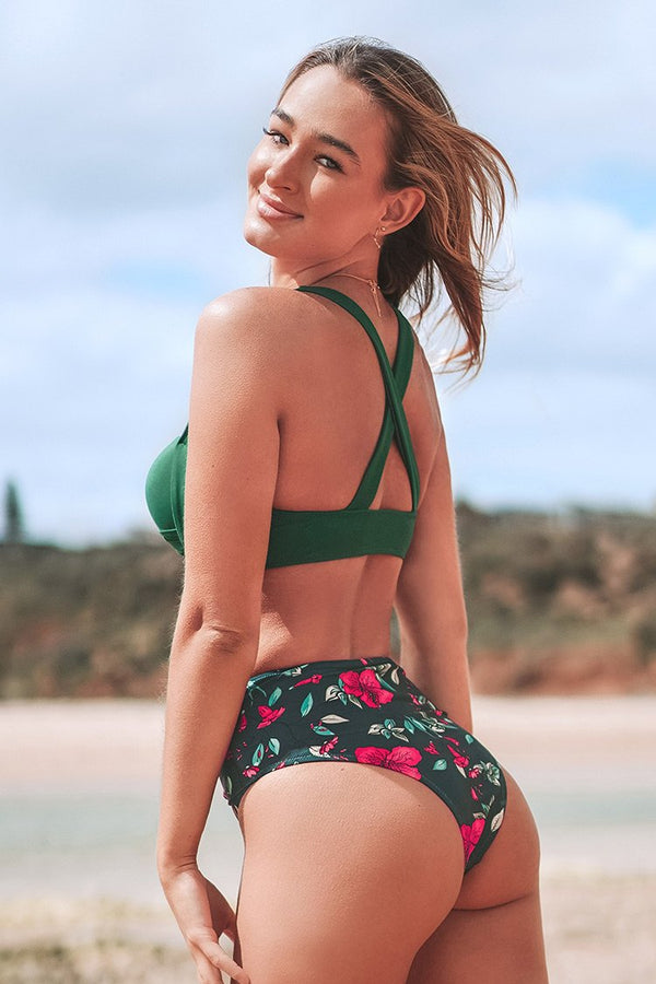 Twist Front Green and Floral High-Waist Bikini