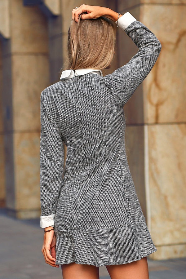 Grey Ruffled Bottom Mini Dress