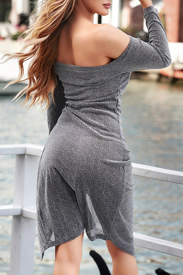 Shimmery Gray High-Slit One-Shoulder Dress