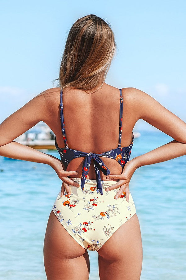 Blue and Cream Floral Cutout One-Piece Swimsuit