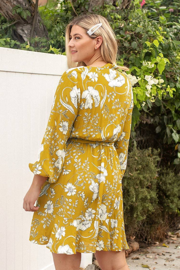 Yellow Floral Long Sleeve Plus Size Dress