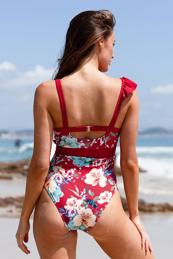 Red Floral Plunging One Piece Swimsuit