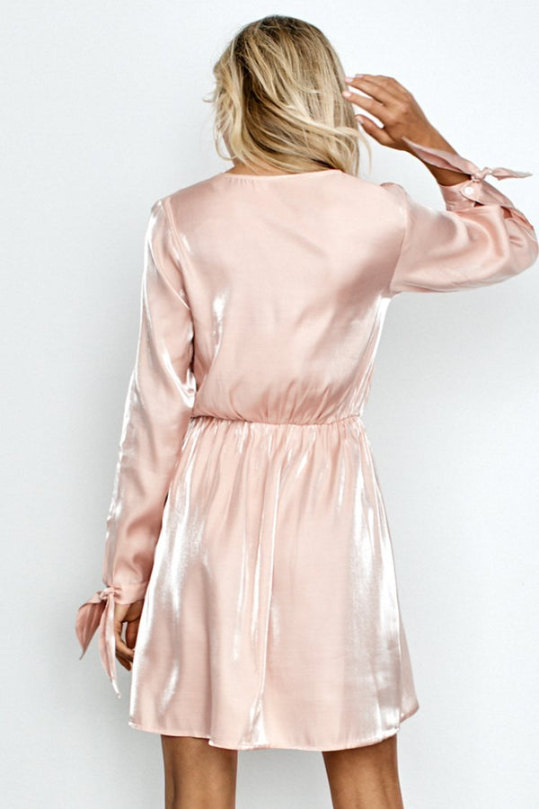 Knotted Cuff Satin Party Dress