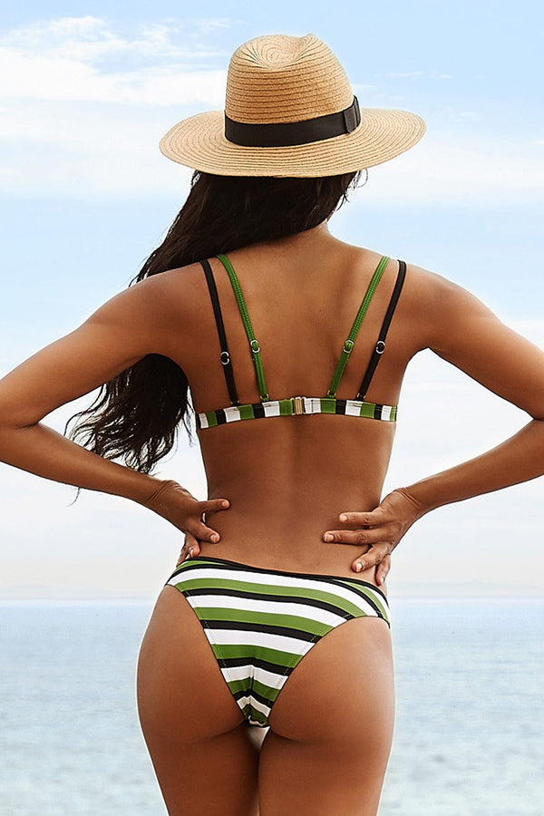 Green White And Black Striped Bikini