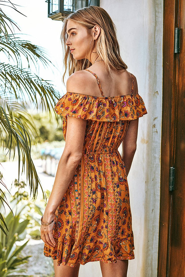Yellow Floral Off-The-Shoulder Ruffle Dress