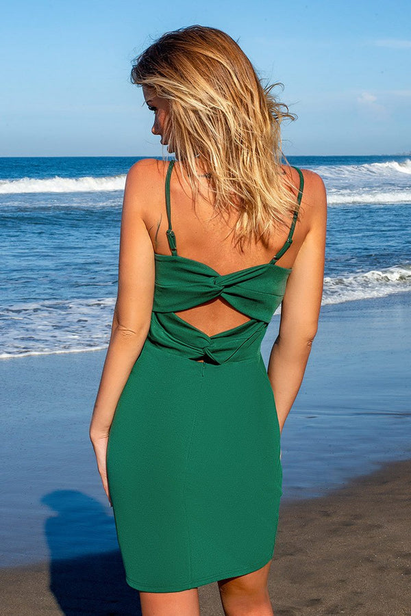 Green Twist Straps Dress