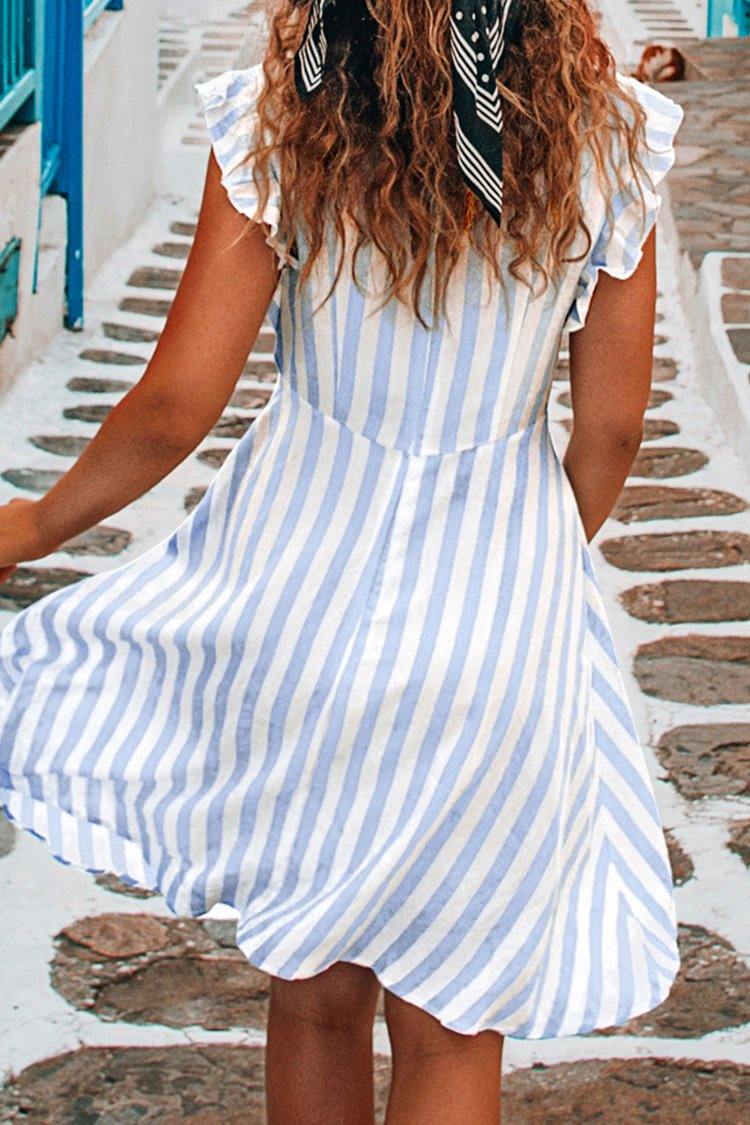 Baby Blue Stripe Ruffle Dress