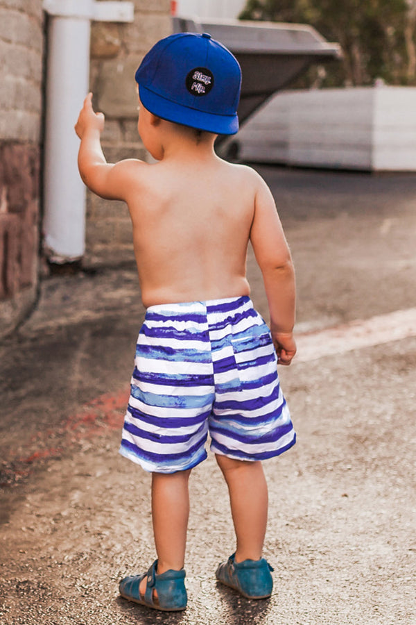 Purple and White Striped Boys Swim Trunks