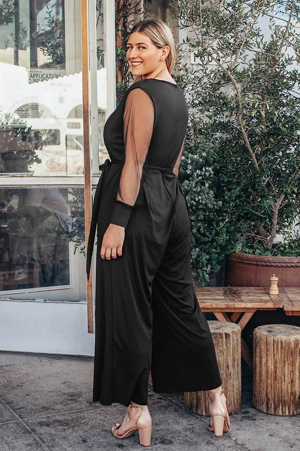Black V-Neck Plus Size Jumpsuit