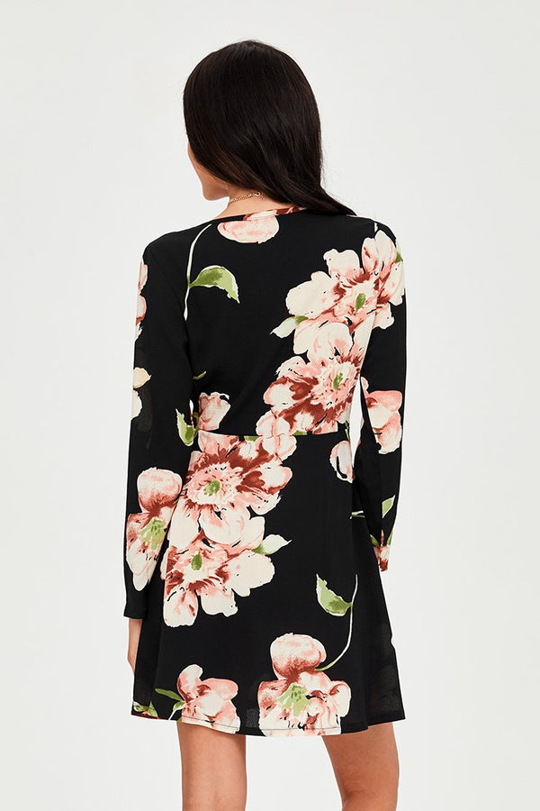 Black Blooming Floral Dress