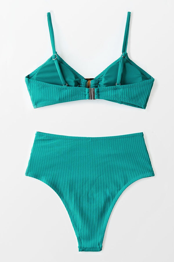 Ribbed Buckle High Waisted Bikini