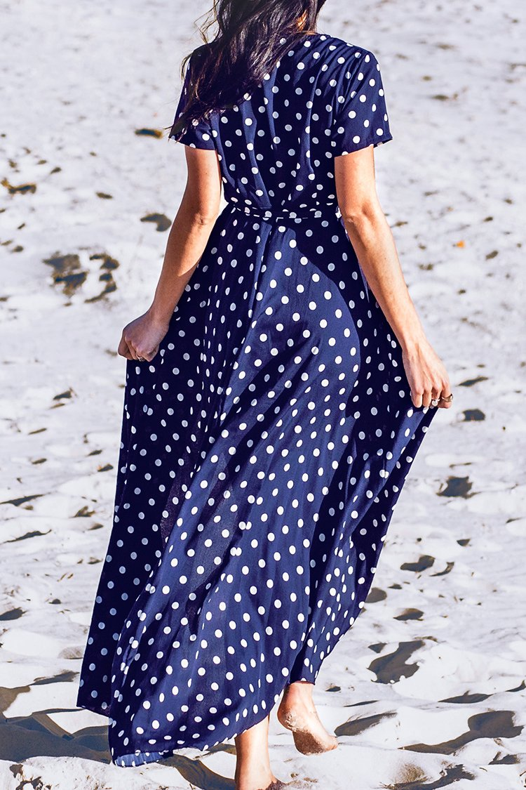 Navy Polka Dot V-Neck Wrap Dress
