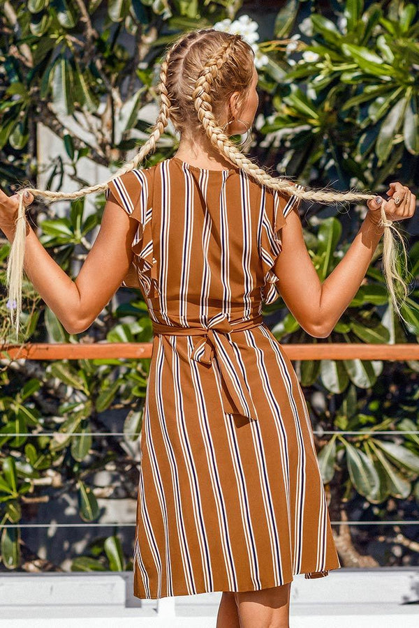 Caramel Striped Buttoned Dress