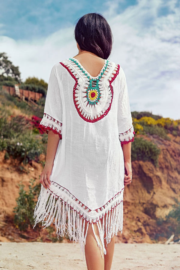 Boho Crochet Cover Up with Fringe