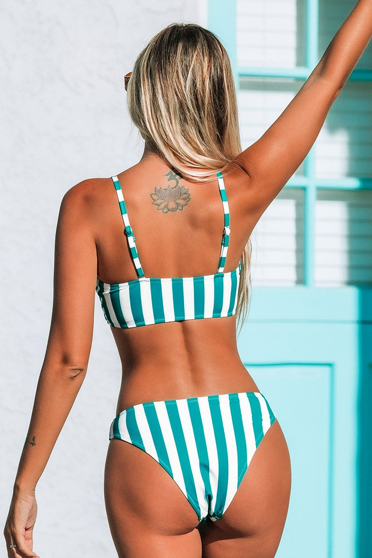 Blue and White Striped Bandeau Bikini