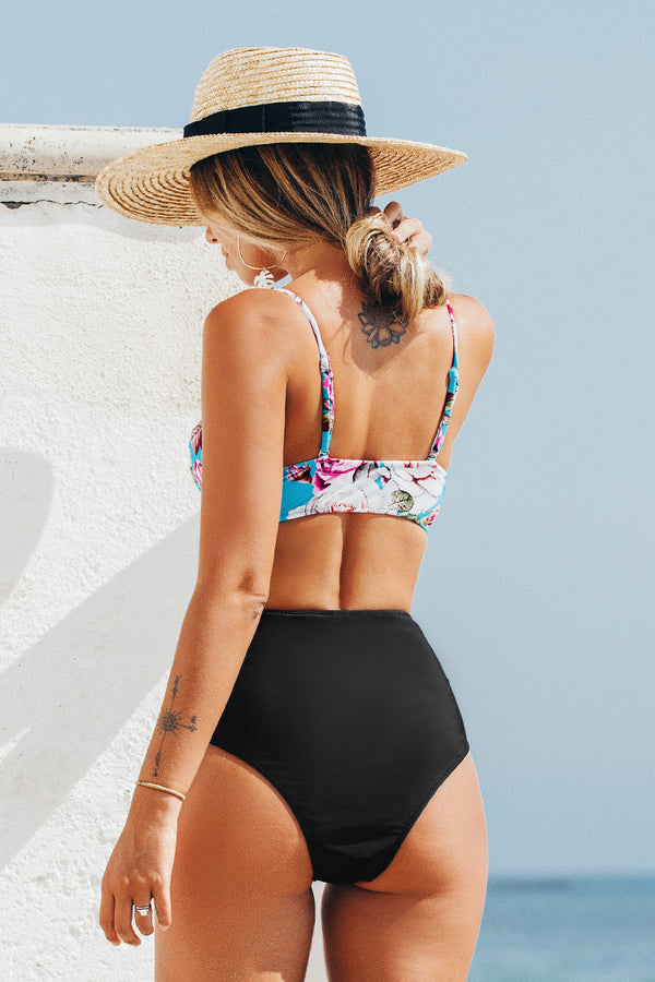 Floral and Black Shirring High-Waisted Bikini