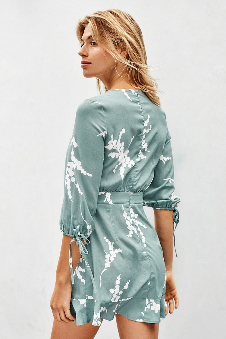 Misty Green Print Tie Front Mini Dress