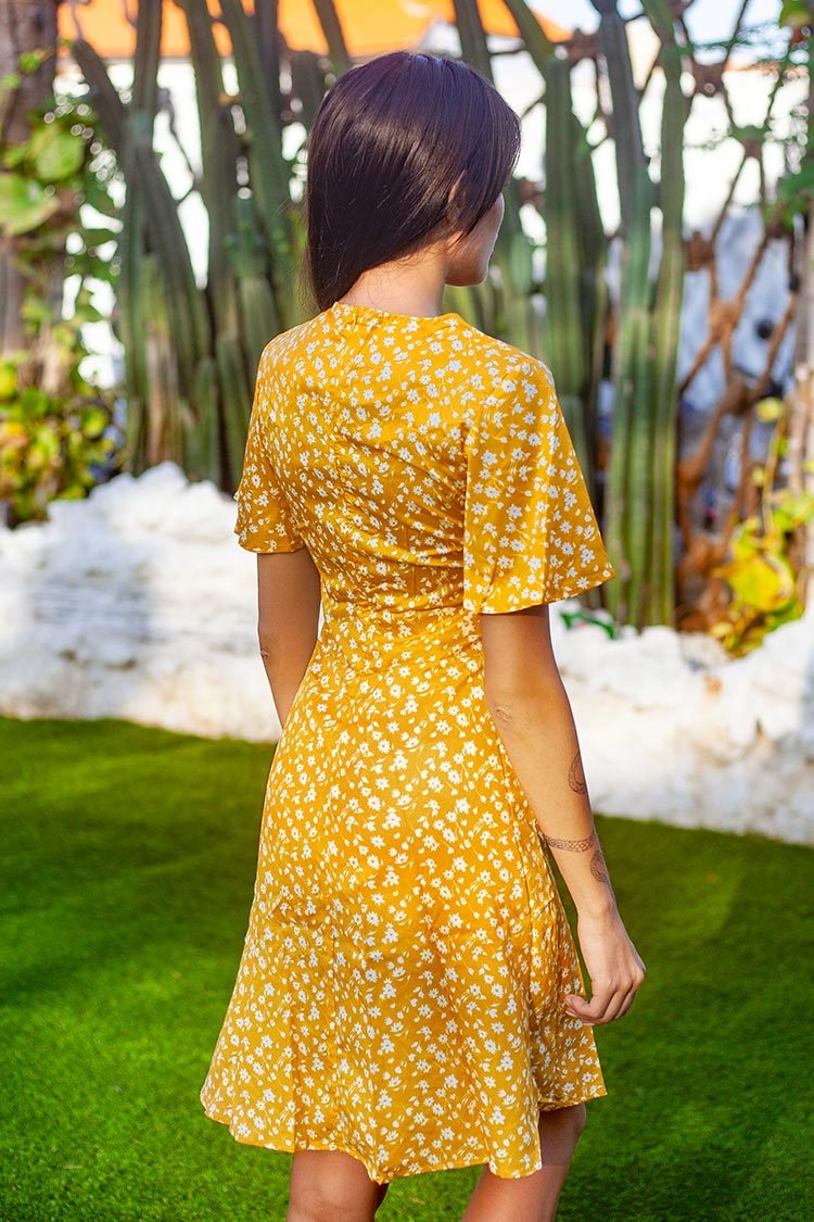 Yellow Ditsy Floral Buttoned Midi Dress