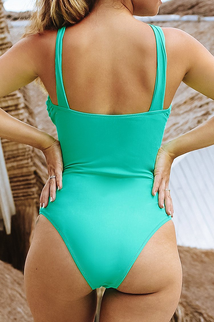 Cutout Light Green One-Piece Swimsuit