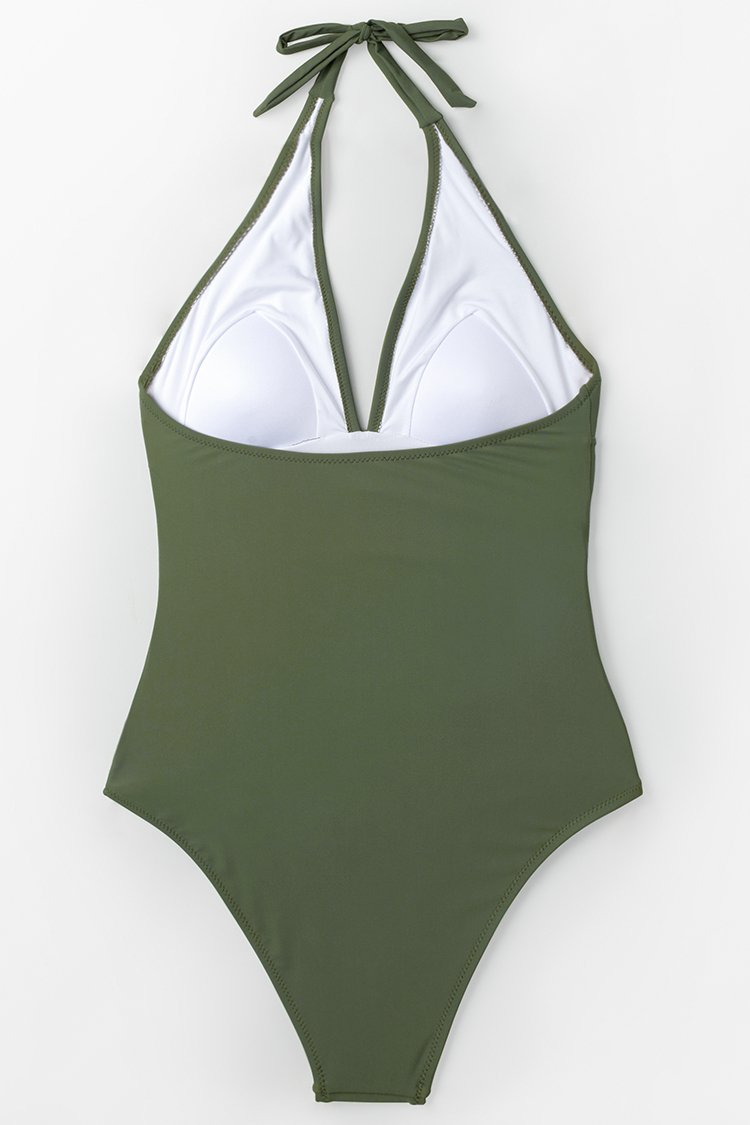 Mossy Green Ruched One-Piece Swimsuit