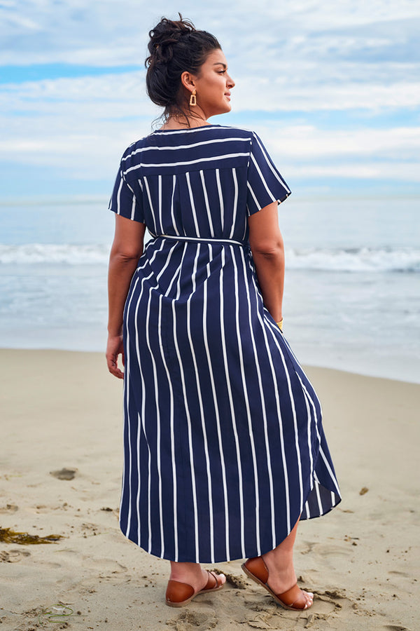 Blue Striped Wrap Plus Size Dress