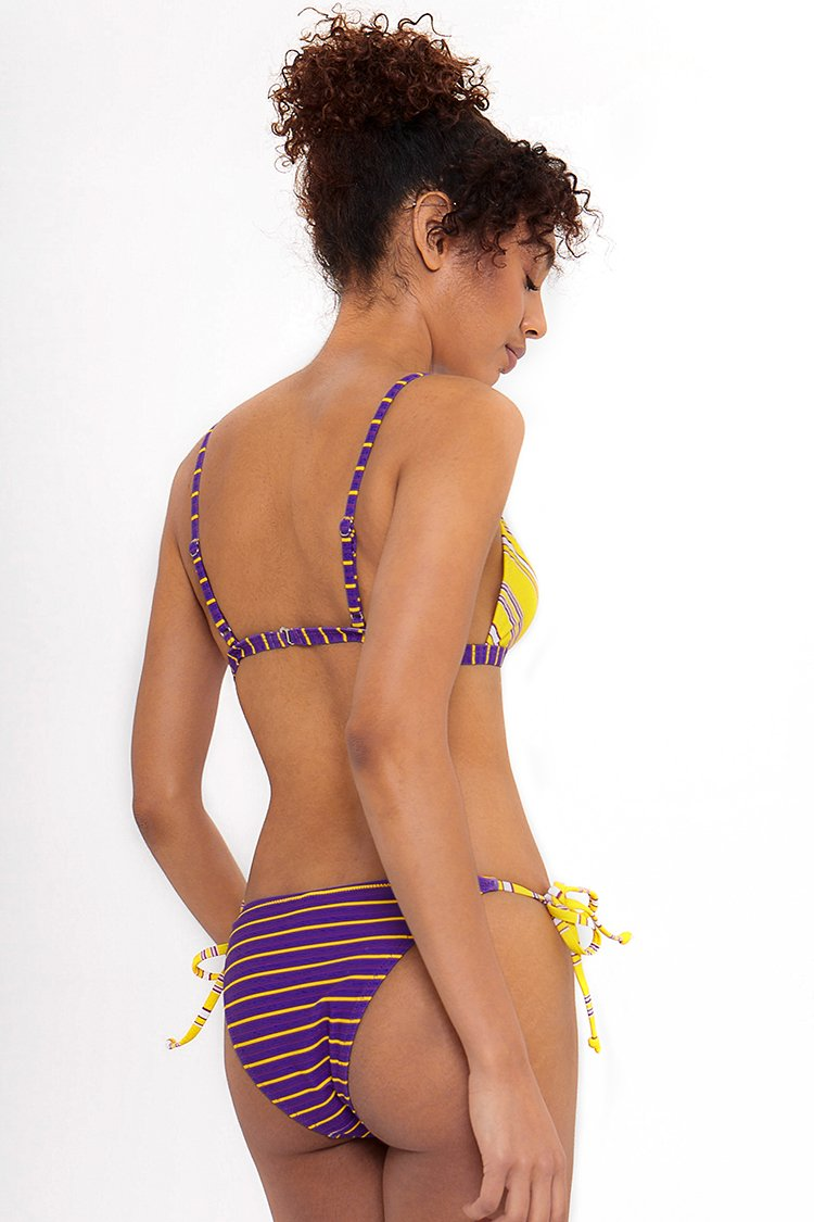 Yellow And Purple Stripe Bikini