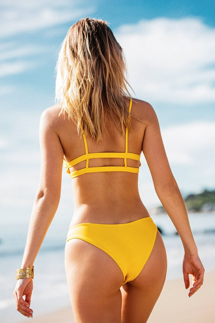 Yellow Solid V-Neck Triangle Bikini