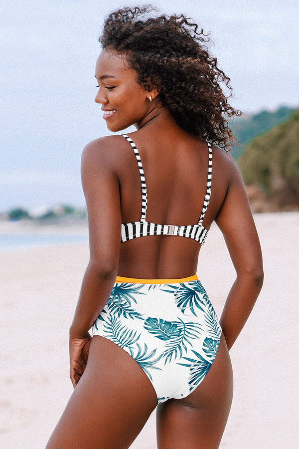Striped and Leafy Cutout One Piece Swimsuit