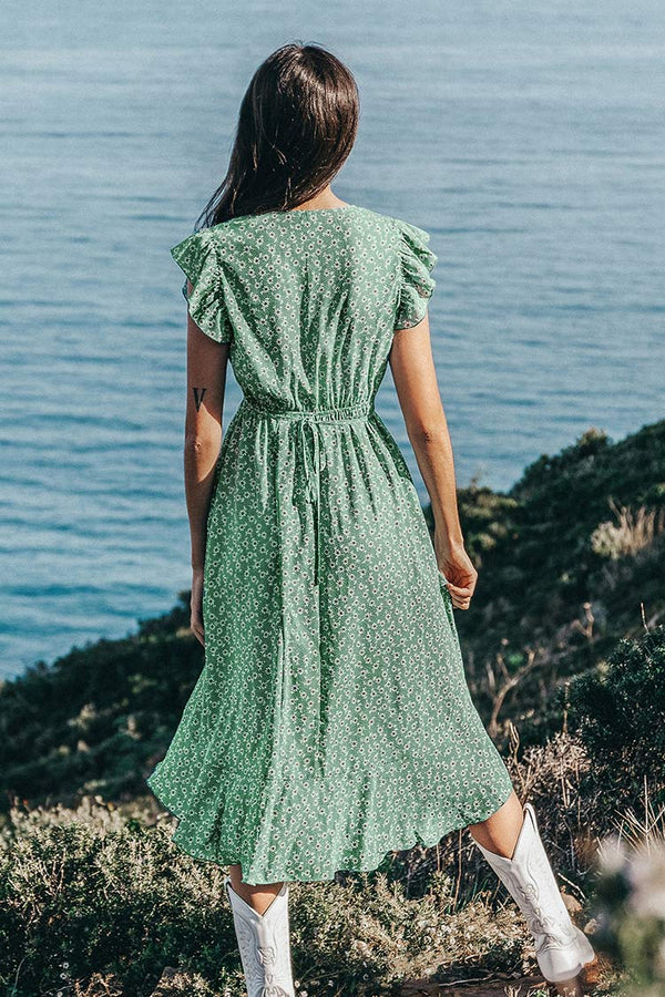 Green Floral Print Ruffled Dress