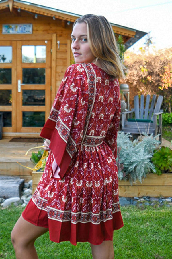 Red Boho Print Short Dress