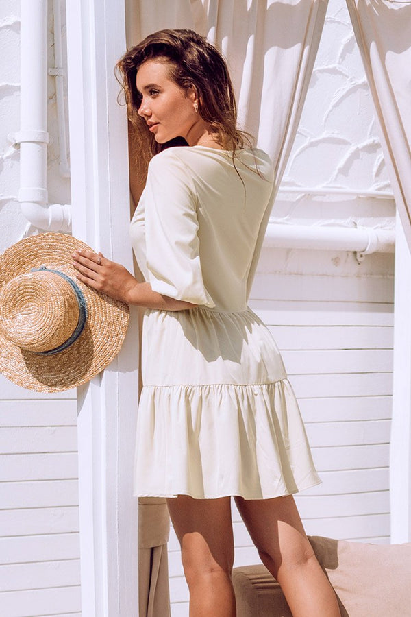 Cream Ruffle Puff Sleeve Mini Dress