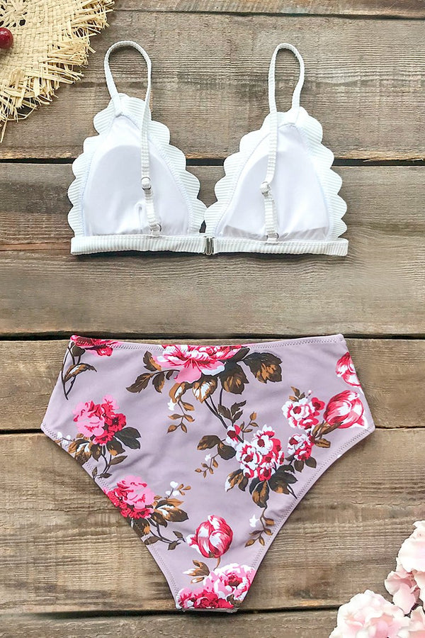 Scalloped Triangle Bikini with High-Waist Bottom