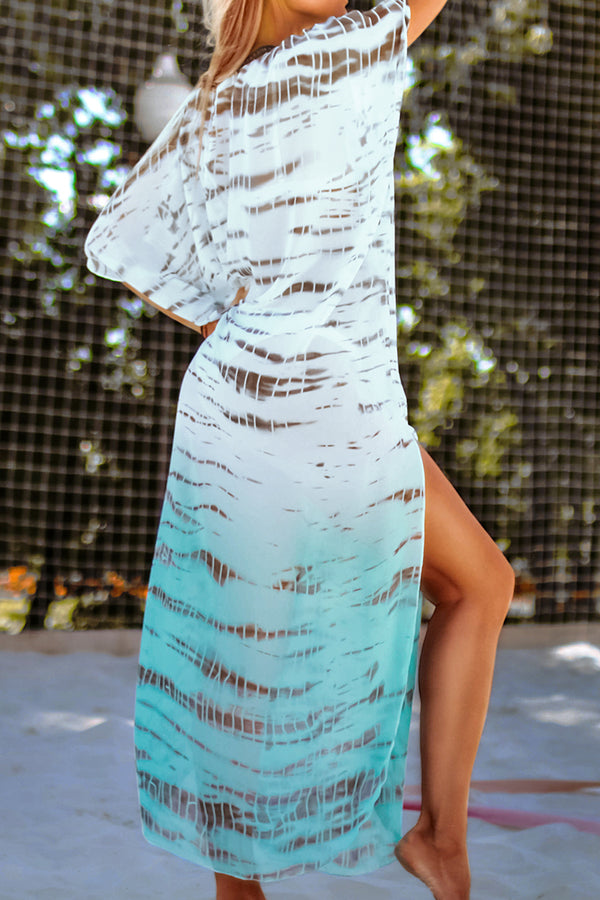 Teal and White Print Maxi Cover Up