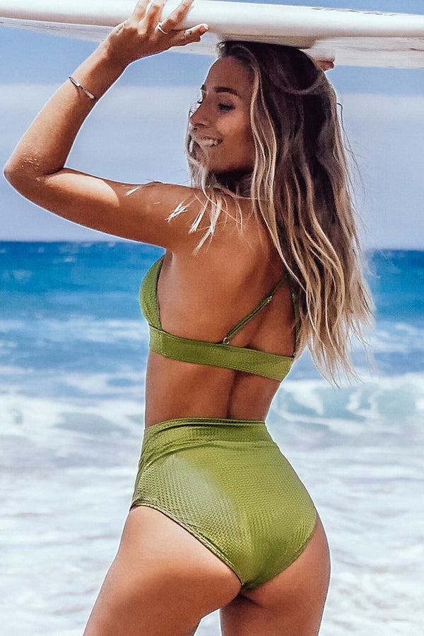 Lime Green Textured High-Waisted Bikini