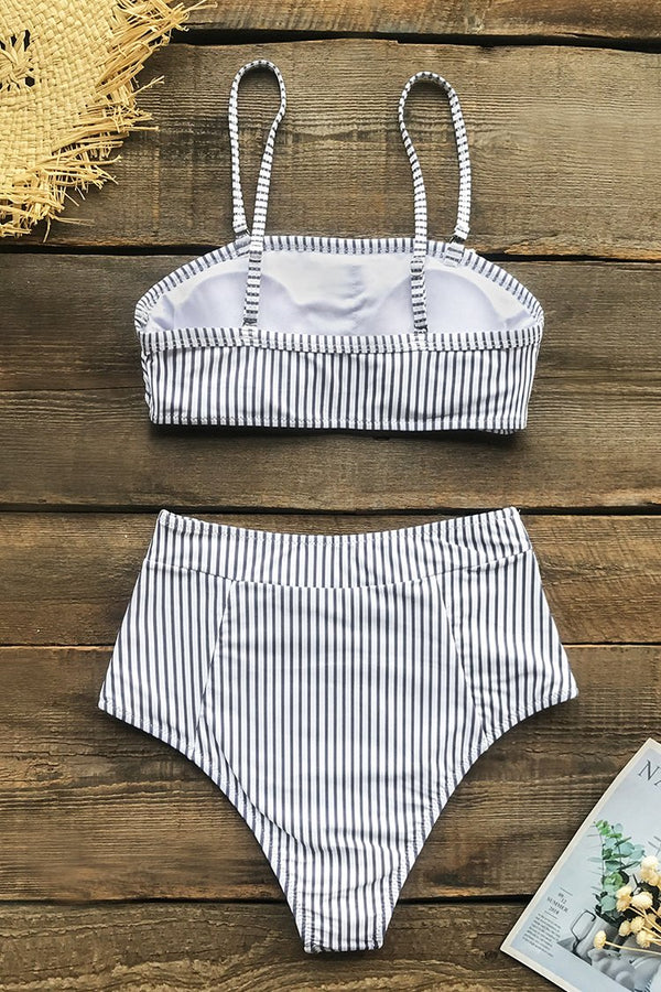 Striped Ruffled High Waist Bikini
